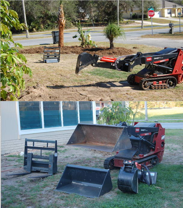 Toro Dingo with backhoe attachment used for tree and shrub removal, transplanting, trenches and more.